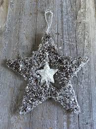 Weihnachtsschmuck Christbaumschmuck Sisalstern Glitzer Silber Stern Weihnachten