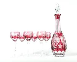 antique baccarat cut crystal cranberry wine decanter set the include six glasses and david jones id whiskey decanter wine set crystal glass luxury