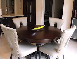 classic dinette sets with oak round dinette table and white leather dinette chairs in small kitchen dining area