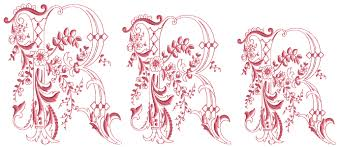 Romantic Embroidery Designs R From Enlaced Romance Initials