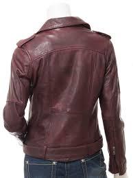 women s leather biker jacket in oxblood blossburg back