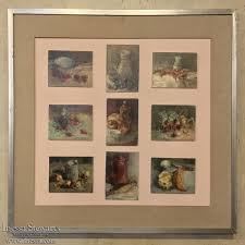 mid century framed montage of 9 small oil culinary still life paintings