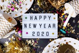 New Light Box Happy New Year 2020 On Light Box With Party Cup Party Blower Tinsel Confetti Fun