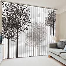 Black living room curtains Grey Black And White Curtain Decoration 3d Brief Tree Curtains For Bedroom Living Room Polyester Room Curtain Aliexpress Black And White Curtain Decoration 3d Brief Tree Curtains For