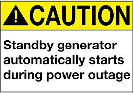 """Amazon.com : Caution Standby Generator Starts During Power Outage Vinyl  Sticker Decal 8"""" : Office Products"""