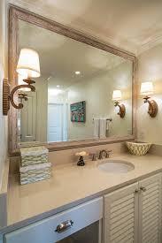 wood bathroom mirror digihome weathered: coastal master bathroom with wood framed mirror