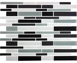 12 x12 black white and gray linear glass tile mix