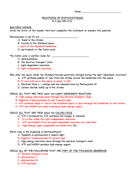 The Light Reactions Worksheet Reactions Of Photosynthesis 8 3 Pp 208 214