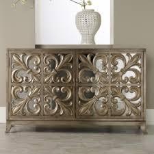 distressed mirrored furniture. hooker furniture melange fleurdelis mirrored credenza distressed