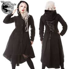poizen industries gothic black memorial winter coat las alternative clothing