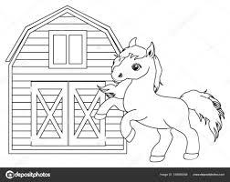 Kleine Schattige Paard Kleurplaat Stockfoto Tatty77tatty