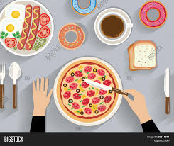 dinner table top view. business lunch, dinner table - top view (flat concept, vector illustration) n