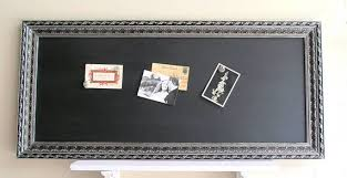 Black Magnetic Memo Board CHALKBOARD Rectangle Long Narrow Black Silver Pewter Bulletin 93
