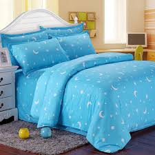 cotton blue stars moon printing bedding set bed sheet duvet cover pillowcase single queen king single size cod