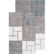 chesapeake merchandising berkeley 21 in x 34 in and 24 in x 40 in 2 piece bath rug set in grey