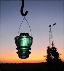 create a solar lamp using a vintage insulator