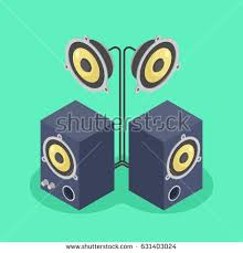 sound system clipart. sound system with two music column and loudspeaker isometric flat vector illustration clipart b
