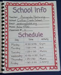 information and weekly schedule planner page