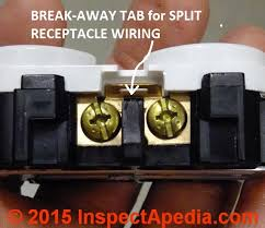 split receptacle electrical wire connections electrical outlet wire connections when wiring a split receptacle break off this tab c