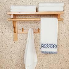 wood towel rack for bathroom wood towel rack with hooks 50cm double wood hanging bathroom towel