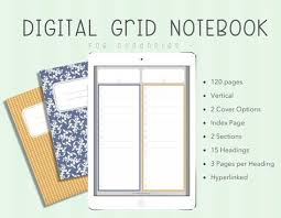 Digital Multiple Subject Notebook Blue Yellow Dot Paper Grid