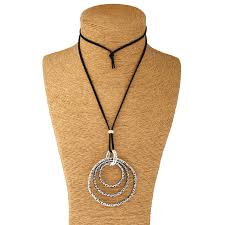 details about black suede cord with large tibetan silver round annulus charm pendant necklace