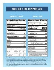 1 pages nutrition fact label side by side parison