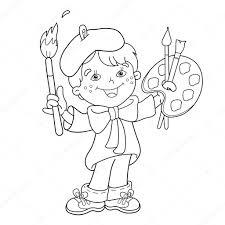 Kleurplaat Pagina Overzicht Van Cartoon Jongen Kunstenaar Met Verf