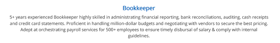 Bookkeeping Resume Bookkeeper Resume Complete 2019 Guide With 10 Examples