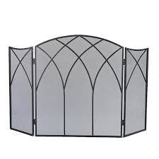plow hearth small crest iron fireplace screen with doors reviews wayfair