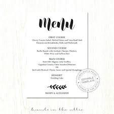 Wedding Menu Template Free Download Wedding Menu Templates Free