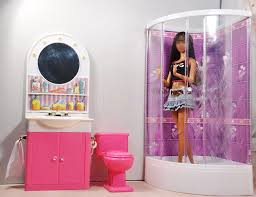 barbie size dollhouse furniture set. Barbie Size Dollhouse Furniture Bathroom W Shower Toilet Table Bathtub Play Set N