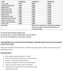 Wedding Cakes Price List