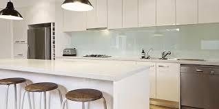 kitchen with glass splashback