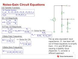 noise gain circuit equations 17 1 β transfer function dc 1 β