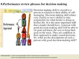 Job Performance Evaluation Review Phrases Decision Making For ...