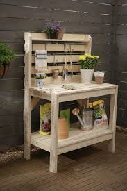 wooden pallet potting bench with garden