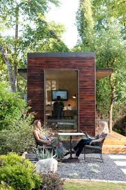 outdoor shed office. Backyard Studio Office And Gravel Patio Area Outdoor Shed