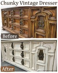 off white chunky vintage dresser before after facelift furniture