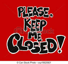 a red and black sign writing please keep me closed suitable to be placed over doors and entrances to prevent from being kept open