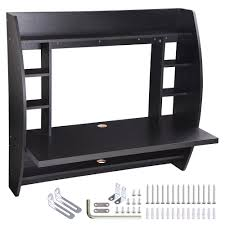 wall mounted home office. Wall Mounted Floating Computer Desk With Storage Shelves Laptop Home Office Furniture Work Black 0