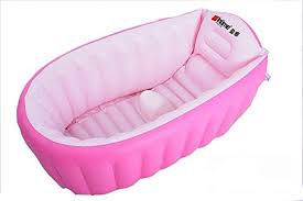 image of inflatable pink baby bath tub