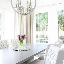 gray and white dining room ideas. gray dining table with white wingback chairs and room ideas