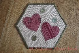 this is using the hexagon shaped mug rug base from another tutorial i said i would be having more tutorials for that shape hexagon shaped mug rug