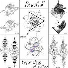 Baofuli 25 Desgin Boys Body Art Temporary Tattoo Geometric Cosmos