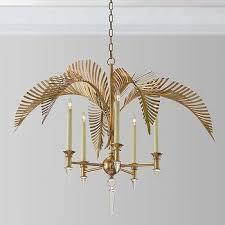 gold metal palm frond 5 light crystal chandelier