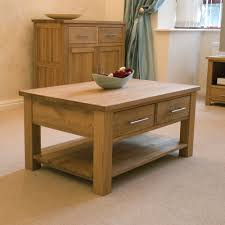 Oak Cabinets Living Room Eton Solid Oak Furniture Storage Coffee Table With Drawers