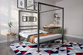 Amazon.com: DHP Modern Canopy Bed Frame, Classic Design, Queen Size ...