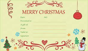 Printable Christmas Gift Certi