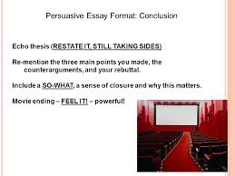 persuasive essay format introduction ppt video online  3 persuasive essay format conclusion
